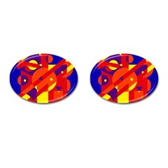 Blue And Orange Abstract Design Cufflinks (oval) by Valentinaart