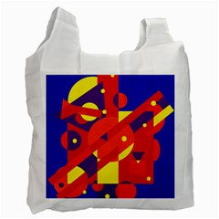 Blue And Orange Abstract Design Recycle Bag (two Side)  by Valentinaart