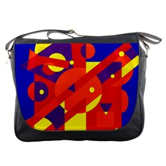 Blue And Orange Abstract Design Messenger Bags by Valentinaart