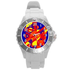 Blue And Orange Abstract Design Round Plastic Sport Watch (l) by Valentinaart