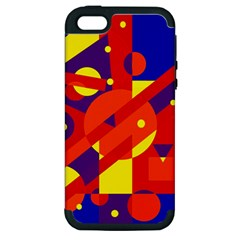 Blue And Orange Abstract Design Apple Iphone 5 Hardshell Case (pc+silicone) by Valentinaart