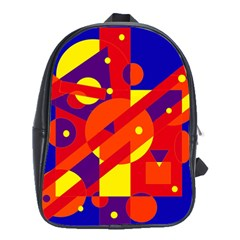 Blue And Orange Abstract Design School Bags (xl)  by Valentinaart