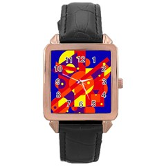 Blue And Orange Abstract Design Rose Gold Leather Watch  by Valentinaart