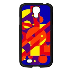 Blue And Orange Abstract Design Samsung Galaxy S4 I9500/ I9505 Case (black) by Valentinaart