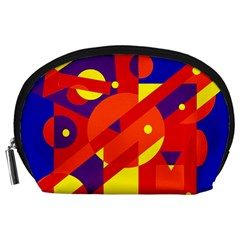 Blue And Orange Abstract Design Accessory Pouches (large)  by Valentinaart