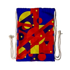 Blue And Orange Abstract Design Drawstring Bag (small) by Valentinaart