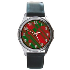 Red And Green Abstract Design Round Metal Watch by Valentinaart
