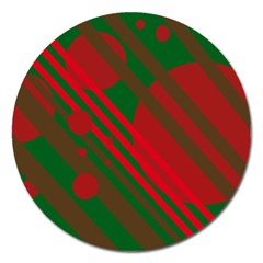 Red And Green Abstract Design Magnet 5  (round) by Valentinaart