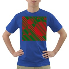 Red And Green Abstract Design Dark T-shirt by Valentinaart