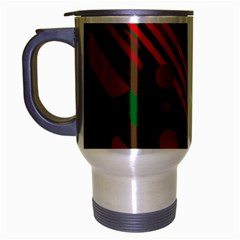 Red And Green Abstract Design Travel Mug (silver Gray) by Valentinaart