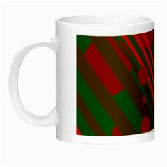 Red And Green Abstract Design Night Luminous Mugs by Valentinaart