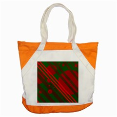 Red And Green Abstract Design Accent Tote Bag by Valentinaart