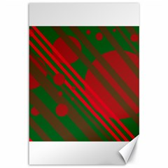 Red And Green Abstract Design Canvas 12  X 18   by Valentinaart