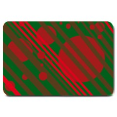 Red And Green Abstract Design Large Doormat  by Valentinaart