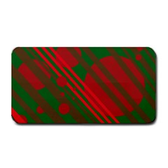 Red And Green Abstract Design Medium Bar Mats by Valentinaart