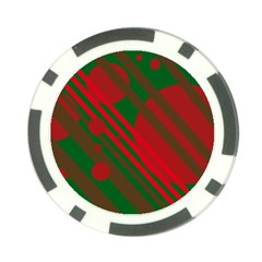 Red And Green Abstract Design Poker Chip Card Guards by Valentinaart