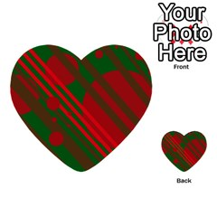 Red And Green Abstract Design Multi-purpose Cards (heart)