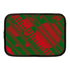 Red And Green Abstract Design Netbook Case (medium)  by Valentinaart