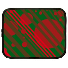 Red And Green Abstract Design Netbook Case (xl)  by Valentinaart