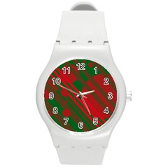 Red And Green Abstract Design Round Plastic Sport Watch (m) by Valentinaart