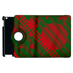 Red And Green Abstract Design Apple Ipad 2 Flip 360 Case