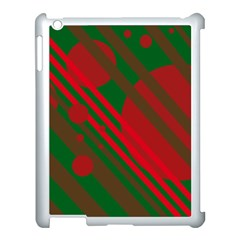 Red And Green Abstract Design Apple Ipad 3/4 Case (white) by Valentinaart
