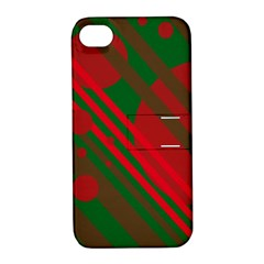 Red And Green Abstract Design Apple Iphone 4/4s Hardshell Case With Stand by Valentinaart