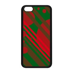 Red And Green Abstract Design Apple Iphone 5c Seamless Case (black) by Valentinaart