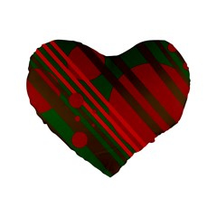 Red And Green Abstract Design Standard 16  Premium Flano Heart Shape Cushions by Valentinaart