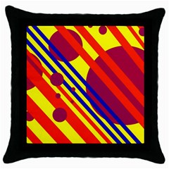 Hot Circles And Lines Throw Pillow Case (black) by Valentinaart