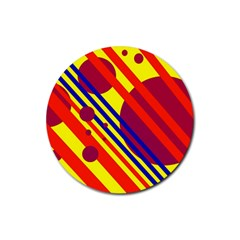 Hot Circles And Lines Rubber Round Coaster (4 Pack)  by Valentinaart