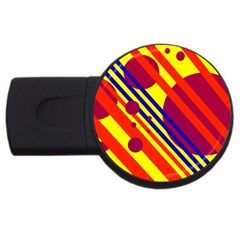 Hot Circles And Lines Usb Flash Drive Round (4 Gb)