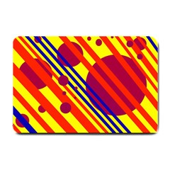 Hot Circles And Lines Small Doormat  by Valentinaart