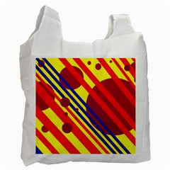 Hot Circles And Lines Recycle Bag (one Side) by Valentinaart