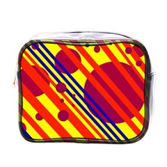 Hot Circles And Lines Mini Toiletries Bags by Valentinaart