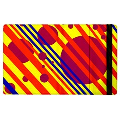 Hot Circles And Lines Apple Ipad 2 Flip Case by Valentinaart