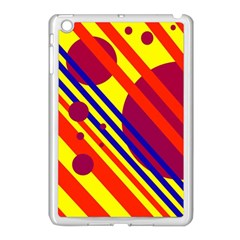 Hot Circles And Lines Apple Ipad Mini Case (white) by Valentinaart