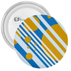 Blue, Yellow And White Lines And Circles 3  Buttons by Valentinaart