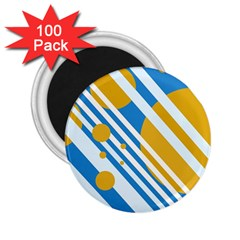Blue, Yellow And White Lines And Circles 2 25  Magnets (100 Pack)  by Valentinaart