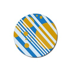 Blue, Yellow And White Lines And Circles Rubber Round Coaster (4 Pack)  by Valentinaart