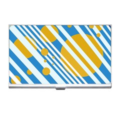 Blue, Yellow And White Lines And Circles Business Card Holders by Valentinaart