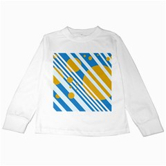 Blue, Yellow And White Lines And Circles Kids Long Sleeve T Shirts by Valentinaart