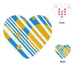 Blue, Yellow And White Lines And Circles Playing Cards (heart)  by Valentinaart