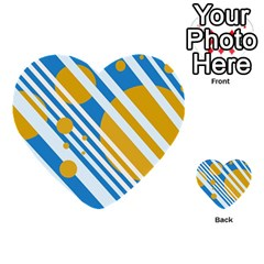 Blue, Yellow And White Lines And Circles Multi Purpose Cards (heart)  by Valentinaart