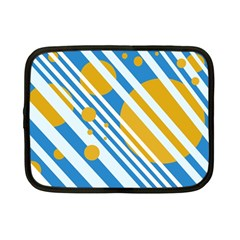 Blue, Yellow And White Lines And Circles Netbook Case (small)  by Valentinaart
