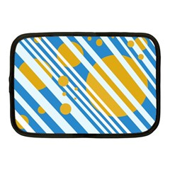 Blue, Yellow And White Lines And Circles Netbook Case (medium)  by Valentinaart