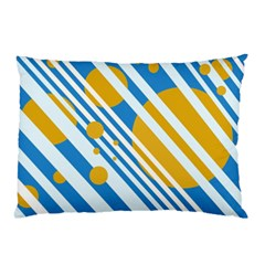 Blue, Yellow And White Lines And Circles Pillow Case by Valentinaart