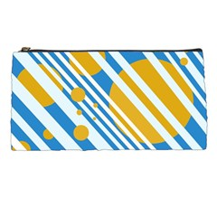 Blue, Yellow And White Lines And Circles Pencil Cases by Valentinaart
