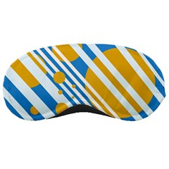 Blue, Yellow And White Lines And Circles Sleeping Masks by Valentinaart