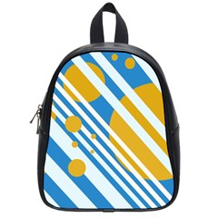 Blue, Yellow And White Lines And Circles School Bags (small)  by Valentinaart